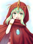 1girl bracelet chiki cloak fire_emblem fire_emblem:_monshou_no_nazo fire_emblem_heroes green_eyes green_hair highres hood hood_up jewelry mamkute nagisa_fe nintendo open_mouth solo stone tiara upper_body