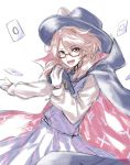 1girl :d bangs black_cape black_hat book bow brown_eyes brown_hair cape card commentary_request cowboy_shot eyebrows_visible_through_hair fedora glasses hand_up hat hat_bow high_collar holding holding_book long_hair long_sleeves looking_at_viewer low_twintails open_mouth purple_skirt purple_vest re_(re_09) red-framed_eyewear shirt simple_background skirt smile solo swept_bangs touhou twintails usami_sumireko vest white_background white_bow white_shirt