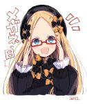 1girl :d abigail_williams_(fate/grand_order) bangs bespectacled black_bow black_dress black_hat blonde_hair blue_eyes blush bow commentary dress eyebrows_visible_through_hair fate/grand_order fate_(series) forehead glasses glasses_day hair_bow hat head_tilt long_hair long_sleeves looking_at_viewer notice_lines open_mouth orange_bow parted_bangs red-framed_eyewear signature simple_background sleeves_past_wrists smile sofra solo symbol_commentary translated upper_body very_long_hair white_background