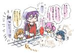 1girl 3others :3 akai_senhon akebono_(kantai_collection) animalization bandanna black_shirt cat commentary_request fan fish flower hair_flower hair_ornament kantai_collection long_hair multiple_others oboro_(kantai_collection) purple_hair red_apron saury sazanami_(kantai_collection) shirt side_ponytail smoke translation_request upper_body ushio_(kantai_collection) very_long_hair