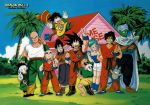 2girls 6+boys :d bald bangs bare_legs bare_shoulders barefoot beard belt black_eyes black_hair blue_eyes blue_hair blue_sky blue_tank_top blush_stickers boots breasts bulma bush cape chaozu character_name chi-chi_(dragon_ball) chinese_clothes clenched_hand clouds cloudy_sky copyright_name crossed_arms day dougi dragon_ball dragon_ball_(object) dragonball_z earrings expressionless eyebrows_visible_through_hair facial_hair father_and_son fingernails flying frown full_body grass green green_shirt hand_on_another's_head hand_on_hip happy hat height_difference highres house jewelry jumping kame_house kuririn leg_up looking_at_viewer looking_away mother_and_son multiple_boys multiple_girls mustache muten_roushi neckerchief official_art open_mouth orange_neckwear outdoors pale_skin palm_tree piccolo pointy_ears puar scar serious shirt short_hair shorts sky smile son_gohan son_gokuu standing sunglasses tail tank_top teeth tenshinhan texture tied_hair tree turban v watch white_shorts wristband yamcha yellow_shorts
