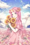 1girl :d aile_(crossroads) artist_name bangs blue_eyes blue_sky blush clouds cloudy_sky commentary_request day dress eyebrows_visible_through_hair field flower flower_field flower_wreath head_wreath holding holding_flower horizon long_hair open_mouth original outdoors parted_bangs pink_dress pink_hair short_sleeves signature sky smile solo sunflower very_long_hair wide_sleeves yellow_flower