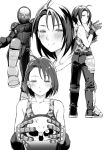1girl ahoge blush body_armor camouflage capcom gloves helmet kazama_akira monochrome mushi024 project_justice rival_schools rival_schools:_united_by_fate short_hair smile tank_top