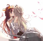 10s 2girls ahoge bare_shoulders black_skirt blonde_hair blush braid cannon closed_eyes corset den_(kur0_yuki) detached_sleeves double_bun dress french_braid from_behind hair_bun hairband hand_holding highres imminent_kiss interlocked_fingers japanese_clothes kantai_collection kongou_(kantai_collection) lips long_hair looking_at_another multiple_girls nontraditional_miko off-shoulder_dress off_shoulder parted_lips petals pleated_skirt skirt skirt_set violet_eyes warspite_(kantai_collection) wide_sleeves yuri