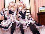 4girls alice_margatroid alternate_costume apron bangs bed black_dress black_legwear black_neckwear black_ribbon blonde_hair blue_dress blue_eyes blush bow braid breasts capelet commentary_request curtains dress enmaided eyebrows_visible_through_hair feet_out_of_frame floating frilled_apron frilled_capelet frills hair_between_eyes hair_bow hair_brush hairband highres holding holding_hair indoors kirisame_marisa kisaragi_yuri light_particles long_hair long_sleeves looking_at_another looking_at_viewer maid maid_apron maid_headdress medium_breasts multiple_girls neck_ribbon no_hat no_headwear pantyhose petticoat picture_frame puffy_short_sleeves puffy_sleeves red_bow red_footwear red_hairband red_neckwear red_ribbon ribbon shanghai_doll shoes short_hair short_sleeves single_braid sitting small_breasts socks touhou waist_apron wallpaper_(object) white_bow white_capelet white_legwear window yellow_eyes
