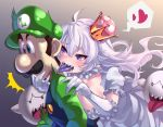 /\/\/\ 1boy 1girl blush boo breasts cleavage collarbone crown dress facial_hair floating_hair gloom_(expression) gloves green_hat green_shirt hand_on_another's_chin hand_on_another's_shoulder hat heart highres large_breasts licking long_hair luigi luigi's_mansion mario_(series) mustache neck_licking new_super_mario_bros._u_deluxe nintendo open_mouth overalls princess_king_boo puffy_short_sleeves puffy_sleeves purple_tongue sharp_teeth shirt short_sleeves silver_hair spoken_heart super_crown surprised sweatdrop tdnd-96 teeth tongue tongue_out very_long_hair violet_eyes white_dress white_gloves