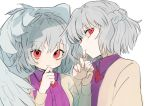 2girls bangs beige_jacket blush bow bowtie braid commentary_request dress dual_persona eyebrows_visible_through_hair feathered_wings french_braid gotoh510 grey_wings hair_between_eyes hand_on_own_chin hands_up jacket kishin_sagume long_sleeves looking_at_viewer multiple_girls profile purple_dress red_bow red_eyes red_neckwear short_hair silver_hair simple_background single_wing smile touhou upper_body white_background wings