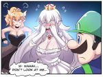 1boy 2girls black_dress blue_eyes blush bowsette breasts collar covering_face crown door dress earrings english facial_hair green_hat hat highres hinghoi horns jewelry large_breasts long_hair luigi luigi's_mansion mario_(series) multiple_girls mustache new_super_mario_bros._u_deluxe nintendo open_door open_mouth princess_king_boo sharp_teeth speech_bubble super_crown teeth thick_eyebrows white_dress