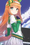1girl absurdres animal_ears bangs blue_sky blunt_bangs blush closed_mouth clouds cloudy_sky commentary day detached_sleeves eyebrows_visible_through_hair gloves green_eyes green_sailor_collar hair_ornament hairband highres horse_ears horse_girl horse_tail light_brown_hair long_sleeves looking_at_viewer looking_to_the_side ohshit outdoors pleated_skirt puffy_short_sleeves puffy_sleeves purple_gloves sailor_collar school_uniform serafuku shirt short_sleeves silence_suzuka skirt sky smile solo striped tail umamusume vertical_stripes white_hairband white_shirt white_skirt