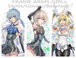 3girls arm_above_head ass_visible_through_thighs black_gloves blonde_hair blue_eyes blue_hair blush bodysuit breasts brown_hair bunny_pose cleavage covered_nipples elbow_gloves frame_arms_girl gloves green_eyes highres letterboxed long_hair looking_at_viewer low_twintails mecha_musume medium_breasts misenouchi multiple_girls open_mouth panties pantyhose pantyshot pantyshot_(standing) short_hair smile standing thighs twintails underwear