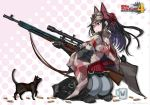 1girl absurdres animal_ears ass black_cat black_hair cat cup grey_eyes gun hat highres honjou_raita kai_schren mug official_art ponytail rifle seiza senjou_no_valkyria_4 shawl shell_casing sitting sniper_rifle tagme weapon