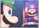 2boys blue_eyes blue_overalls comic facial_hair flying_sweatdrops gloves green_hat hat highres hinghoi luigi luigi's_mansion mario mario_(series) multiple_boys mustache nintendo open_mouth painting_(object) red_hat red_shirt shirt white_gloves