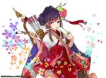 1girl 2016 arrow bangs brown_hair calligraphy_brush commentary_request copyright_request eyebrows_visible_through_hair fingernails floral_background floral_print flower gradient_hair green_flower hair_flower hair_ornament holding holding_paintbrush japanese_clothes kimono long_hair long_sleeves looking_at_viewer multicolored_hair official_art paintbrush pleated_skirt print_kimono purple_hair quiver red_flower red_rose red_skirt rose short_kimono sidelocks skirt solo streaked_hair violet_eyes watermark white_background white_flower white_kimono wide_sleeves yuu_(higashi_no_penguin)
