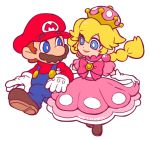 1boy 1girl blue_eyes bow braid bright_pupils brown_footwear brown_hair crown dress earrings facial_hair ghost-pepper gloves jewelry locked_arms long_hair looking_at_another mario mario_(series) mustache new_super_mario_bros._u_deluxe nintendo peachette pink_bow pink_dress puffy_short_sleeves puffy_sleeves short_sleeves simple_background smile super_crown toadette twin_braids white_background