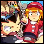 1boy belt blonde_hair breasts brown_gloves brown_hair cabbie_hat commentary_request earrings gloves green_eyes hat jacket jewelry long_hair matilda_caskett multiple_girls open_mouth rockman rockman_dash rog_rockbe roll_caskett sera_(rockman_dash) short_hair short_sleeves tron_bonne