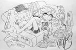 +_+ bare_legs black_shorts carton controller couch cup domino_mask earrings food game_controller hair_down headwear_removed hotaru_(splatoon) jewelry mask mole mole_under_eye monochrome navel nintendo nintendo_switch nintendo_switch_dock open_mouth pillow pizza pizza_box pointy_ears shorts slippers_removed splatoon stomach television tentacle_hair traditional_media watch yuuki_(zeicomi100yen)