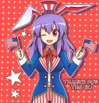 absurdres america american_flag animal_ears bow bowtie coat dual_wielding english hat highres holding lavender_hair long_hair majormilk mini_flag mini_hat one_eye_closed pants rabbit_ears red_background red_eyes reisen_udongein_inaba smile star starry_background striped striped_pants touhou