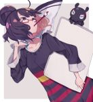 1girl alternate_costume bag bangs bespectacled black_hair blue_eyes blunt_bangs canvas_(object) collarbone contemporary dress fate/grand_order fate_(series) glasses hair_bun horizontal_stripes katsushika_hokusai_(fate/grand_order) mouth_hold octopus paintbrush shopping_bag striped striped_dress tokitarou_(fate/grand_order) totatokeke