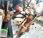 1girl bangs belt beltbra blonde_hair breasts butt_crack cape dark_skin floating floating_hair glint guilty_gear guilty_gear_xrd hat highres large_breasts looking_at_viewer medium_breasts messy_hair nishiide_kengorou orange_eyes ramlethal_valentine short_hair short_shorts shorts sidelocks solo sword thigh_strap unbuttoned_pants under_boob weapon white_hair white_shorts wind wind_lift
