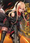 1girl artist_logo assault_rifle bangs bare_shoulders black_jumpsuit black_legwear blonde_hair blush braid breasts character_name coat eyebrows_visible_through_hair gap girls_frontline gloves gun hair_between_eyes headgear highres leaning_forward long_coat long_hair looking_at_viewer m4_carbine m4_sopmod_ii_(girls_frontline) medium_breasts mod3_(girls_frontline) multicolored_hair open_clothes open_coat open_mouth red_eyes redhead rifle ro635_(dinergate) shirt short_jumpsuit sleeveless sleeveless_shirt smile solo standing streaked_hair thigh-highs torn_coat trigger_discipline weapon x-kulon