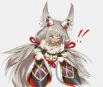 1girl angry animal_ears bangs blush cat_ears closed_eyes gloves largemilk leotard long_hair looking_at_viewer nintendo niyah open_mouth ribbon silver_hair simple_background solo spoilers twintails xenoblade_(series) xenoblade_2 yellow_eyes