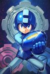 1boy android arm_cannon blue_eyes capcom commentary_request gears helmet highres kuroi_susumu legs_apart looking_at_viewer male_focus rockman rockman_(character) rockman_(classic) rockman_11 serious solo weapon
