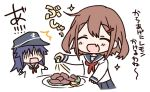 2girls akatsuki_(kantai_collection) anchor_symbol blue_sailor_collar blue_skirt brown_hair closed_eyes commentary_request fang flat_cap food fruit hair_ornament hairclip hat hizuki_yayoi ikazuchi_(kantai_collection) kantai_collection lemon lemon_slice long_hair meat multiple_girls neckerchief open_mouth pleated_skirt purple_hair red_neckwear sailor_collar school_uniform serafuku shaded_face short_hair skirt smile solo_focus translation_request