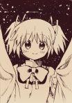 1girl bangs bow bowtie curtains hair_ribbon highres kaname_madoka looking_at_viewer mahou_shoujo_madoka_magica mitakihara_school_uniform monochrome no+bi= ribbon school_uniform smile solo twintails