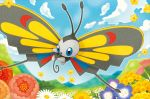 beautifly blue_eyes blue_sky bug butterfly clouds cloudy_sky creature day flower flying full_body gen_3_pokemon grass insect nature no_humans official_art outdoors pokemon pokemon_(creature) pokemon_trading_card_game sky solo third-party_source