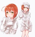 1girl ae-3803 ahoge baseball_cap blush collared_shirt cosplay cowboy_shot hat hataraku_saibou highres long_sleeves looking_at_viewer multiple_views oversized_clothes red_blood_cell_(hataraku_saibou) redhead shirt short_hair shorts simple_background sleeves_past_wrists smile solo white_background white_blood_cell_(hataraku_saibou) white_blood_cell_(hataraku_saibou)_(cosplay) white_hat white_shirt yellow_eyes yumeha_tseru