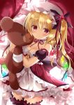 1girl adapted_costume babydoll backlighting bandage bangs bare_shoulders black_bow blush bow breasts cleavage closed_mouth collarbone commentary_request crystal curtains detached_sleeves dutch_angle eyebrows_visible_through_hair flandre_scarlet frilled_hat frills gem glint hair_between_eyes hair_bow hair_ribbon hat holding holding_stuffed_animal indoors large_bow leg_garter long_hair looking_at_viewer medium_breasts mob_cap neck_garter neck_ribbon one_side_up puffy_short_sleeves puffy_sleeves red_neckwear red_ribbon ribbon shiny shiny_hair short_sleeves smile solo sparkle striped stuffed_animal stuffed_toy teddy_bear tenshi_china touhou vertical_stripes white_hat wings