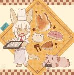 1girl 1other animal_ears baking_sheet blush character_name chef_hat doughnut eyebrows_visible_through_hair food fork hat kawasemi27 looking_at_another made_in_abyss medium_hair mitty_(made_in_abyss) nanachi_(made_in_abyss) parted_lips smile spoon standing tail white_hair white_hat yellow_eyes