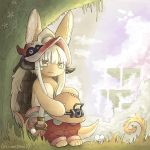 1other :3 ambiguous_gender animal_ears artist_name closed_mouth day eyebrows_visible_through_hair furry kawasemi27 long_hair looking_away made_in_abyss nanachi_(made_in_abyss) outdoors sitting smile solo tail twitter_username white_hair yellow_eyes