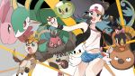 1girl alomomola bag bare_legs baseball_cap black_vest blue_eyes brown_hair creatures_(company) curly_hair cutoffs deerling denim denim_shorts exposed_pocket game_freak gen_5_pokemon hat high_ponytail long_hair nintendo poke_ball pokemon pokemon_(creature) pokemon_(game) pokemon_bw rozu_ki serperior shirt short_shorts shorts shoulder_bag sidelocks sleeveless sleeveless_shirt solosis stunfisk tagme tank_top tepig touko_(pokemon) vest vullaby white_shirt