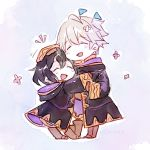 1boy 1girl black_hair chibi closed_eyes father_and_daughter fire_emblem fire_emblem:_kakusei fire_emblem_heroes flag hand_on_another's_head highres hood hood_down hug long_sleeves male_my_unit_(fire_emblem:_kakusei) mark_(female)_(fire_emblem) mark_(fire_emblem) my_unit_(fire_emblem:_kakusei) nintendo open_mouth robe short_hair standing white_hair xin_(24914)