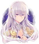 1girl circlet closed_mouth diadora_(fire_emblem) fire_emblem fire_emblem:_seisen_no_keifu hand_on_own_chest highres lavender_hair long_hair nakabayashi_zun nintendo smile solo turtleneck violet_eyes