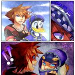 !! 1boy ?? bird brown_hair bruno_buccellati chain_necklace comic crossover disney donald_duck duck hat highres jojo_no_kimyou_na_bouken kingdom_hearts kisamyuki multiple_boys sora_(kingdom_hearts) surprised vento_aureo zipper
