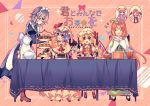 >_< 6+girls :d ^_^ apron ascot bangs bat_wings black_dress black_footwear blonde_hair blue_bow blue_dress blue_eyes blue_hair blue_neckwear blue_ribbon blush boots bow bowl breasts brown_footwear cake capelet center_frills chair closed_eyes closed_eyes crescent crystal diagonal-striped_background diagonal_stripes double_v dress eye_contact eyebrows_visible_through_hair fangs flandre_scarlet food frilled_apron frilled_shirt_collar frills from_side full_body green_dress green_hat hair_between_eyes hair_bow hand_up handkerchief hands_up hat hat_bow hat_ribbon high_heels holding hong_meiling hourglass izayoi_sakuya juliet_sleeves kirero koakuma loafers long_hair long_sleeves looking_at_another maid maid_apron maid_headdress medium_breasts mob_cap multiple_girls neck_ribbon one_side_up open_mouth orange_hair own_hands_together patchouli_knowledge petticoat pink_background pink_dress pink_hat pitcher plate pointy_ears profile puffy_sleeves purple_hair red_bow red_eyes red_footwear red_neckwear red_ribbon red_vest redhead remilia_scarlet ribbon shirt shoes short_hair siblings sidelocks silver_hair sisters sitting smile standing striped striped_background table tablecloth teapot tiered_tray touhou translation_request triangle v very_long_hair vest violet_eyes white_apron white_hat white_shirt wings wrist_cuffs yellow_neckwear