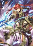 1girl armor company_name copyright_name fingerless_gloves fire_emblem fire_emblem:_kakusei fire_emblem_cipher gloves hmk84 holding holding_spear holding_weapon long_hair nintendo official_art open_mouth pegasus pegasus_knight polearm red_eyes redhead riding selena_(fire_emblem) solo spear twintails weapon