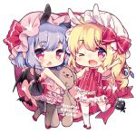 2girls :o ;d ahoge animal_ears aogiri_sei arm_up bare_arms bare_shoulders bat_wings black_legwear blonde_hair bloomers blush bow bunny_girl bunny_tail chibi commentary_request extra_ears eyebrows_visible_through_hair fang flandre_scarlet full_body hat hat_ribbon heart holding kemonomimi_mode looking_at_viewer looking_back lowres mob_cap multiple_girls one_eye_closed open_mouth pantyhose pointy_ears purple_hair rabbit_ears red_bow red_eyes red_ribbon remilia_scarlet ribbon short_hair siblings side_ponytail simple_background sisters smile standing standing_on_one_leg stuffed_animal stuffed_toy tail teddy_bear thigh-highs touhou underwear waving white_background white_legwear wings