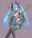 1girl :o aqua_eyes aqua_hair aqua_neckwear bangs black_skirt blouse blue_nails carrying collared_blouse detached_sleeves electric_guitar facing_viewer grey_background grey_blouse guitar hair_ornament hair_ribbon hatsune_miku headphones headset highres instrument invisible_chair lace lace-trimmed_thighhighs lips long_hair miniskirt music nail_polish necktie parted_lips playing_instrument pleated_skirt plectrum print_legwear purple_ribbon ribbon simple_background single_horizontal_stripe sitting skirt sleeveless sleeveless_blouse solo thigh-highs twintails very_long_hair vocaloid yamashita_shun'ya