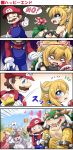 /\/\/\ 1boy 3girls 4koma =_= ?_block arm_hug attack bare_arms bare_shoulders black_collar black_dress blank_eyes blocking blonde_hair blood blue_eyes blush boo borrowed_design bowser bowsette bracelet brown_eyes brown_hair claws collar comic commentary_request crown crying crying_with_eyes_open day dress earrings emphasis_lines empty_eyes facial_hair fang geoduck ghost ghost_tail gloom_(expression) gloves green_hair hair_between_eyes hat heart highres holding holding_weapon horns jewelry long_hair long_sleeves looking_at_another mace mario mario_(series) motion_lines multiple_girls mustache new_super_mario_bros._u_deluxe nintendo no one_eye_closed open_mouth outdoors overalls pink_dress piranha_plant pointy_ears ponytail princess_king_boo princess_peach puffy_short_sleeves puffy_sleeves rejection scales sekiguchi_miiru shaded_face sharp_teeth short_sleeves smile sparkle spiked_armlet spiked_bracelet spiked_collar spiked_mace spiked_shell spikes strapless strapless_dress super_crown super_mario_bros. sweater tears teeth turtle_shell violet_eyes weapon white_dress