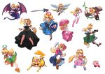 6+girls adapted_costume aiming angel_wings animal_ears black_dress blonde_hair blooper blue_eyes bodysuit bowsette breathing_fire captain_falcon claws creatures_(company) crown donkey_kong donkey_kong_(series) dress f-zero fangs fire fox_ears fox_mccloud fox_tail game_freak ganondorf gen_1_pokemon genderswap gun handgun hat horns inkling john_su kid_icarus kirby kirby_(series) link looking_at_viewer mario_(series) metroid mini_crown multiple_girls necktie new_super_mario_bros._u_deluxe nintendo overall_skirt pikachu pit_(kid_icarus) plant pokemon princess_peach purple_dress ridley salute scarf serious sharp_teeth shield smile splatoon splattershot_(splatoon) star_fox super_crown super_mario_bros. sword tail teeth tentacle_hair the_legend_of_zelda tongue tongue_out transparent_background vines weapon wings yoshi