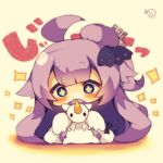 +_+ 1girl ahoge aqua_eyes azur_lane bangs big_head blunt_bangs blush character_request chibi commentary_request full_body hatching_(texture) head_tilt hidden_mouth long_hair looking_at_viewer muuran one_side_up purple_hair sepia side_bun signature solo stuffed_alicorn stuffed_animal stuffed_toy translation_request very_long_hair wide-eyed