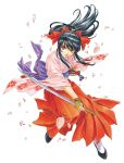1girl absurdres black_hair bow brown_eyes cherry_blossoms fujishima_kousuke hair_bow hakama highres japanese_clothes katana kimono long_hair object_namesake official_art petals ponytail red_bow red_hakama sakura_taisen sheath shinguuji_sakura solo sword tassel traditional_media weapon