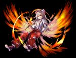1girl absurdres amamitsu_kousuke baggy_pants bangs black_background boots bow brown_footwear commentary_request eyebrows_visible_through_hair fiery_wings fujiwara_no_mokou full_body grin hair_between_eyes hair_bow hand_in_pocket hand_up highres juliet_sleeves long_hair long_sleeves looking_at_viewer ofuda pants puffy_sleeves red_eyes red_pants shirt silver_hair simple_background smile solo suspenders touhou very_long_hair white_bow white_shirt wing_collar wings