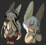 1other :3 alternate_eye_color alternate_hair_length alternate_hairstyle ambiguous_gender animal_ears black_background closed_mouth eyebrows_visible_through_hair furry highres holding holding_knife kawasemi27 knife looking_at_viewer made_in_abyss nanachi_(made_in_abyss) open_mouth red_eyes short_hair simple_background smile sparkle white_hair