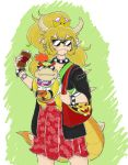 1boy 1girl absurdres alternate_costume bag bangs bib black_jacket blonde_hair blue_earrings bowser_jr. bowsette bracelet coffee coffee_cup collar commentary cowboy_shot cup disposable_cup drinking_straw english_commentary fang_out fangs_out green_background hair_tie handbag highres holding holding_cup horns jacket jewelry koopa_clown_car long_ponytail looking_at_viewer mario_(series) mother_and_son new_super_mario_bros._u_deluxe nintendo orange_juice outline patterned_clothing print_bag red_skirt redhead scowl short_hair sidelocks skirt smile sparkle spiked_bracelet spiked_collar spiked_shell spiked_tail spikes standing sunglasses super_crown t1g two-tone_background watch watch whipped_cream white_background wide_ponytail wristband