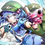 1girl aiming_at_viewer arikanrobo blue_eyes blue_hair blue_shirt blue_skirt commentary_request flat_cap glint green_headwear grin gun hair_between_eyes hair_bobbles hair_ornament hat kawashiro_nitori key leaning_to_the_side looking_at_viewer shirt shirt_under_shirt skirt smile solo teeth touhou touhou_cannonball twintails water water_drop watermark weapon