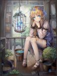 1girl absurdres birdcage blonde_hair blue_eyes blush bucket cage chin_rest crystal dress elbow_rest elf flower flower_pot hair_flower hair_ornament highres long_hair mary_janes original plant pointy_ears shoes short_dress sitting smile solo stool thigh-highs very_long_hair white_legwear